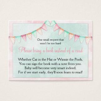 Demande de livre de baby shower de drapeaux de cartes de visite