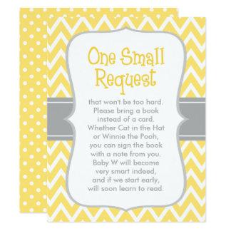 Demande | de livre de baby shower jaune et gris carton d'invitation 10,79 cm x 13,97 cm