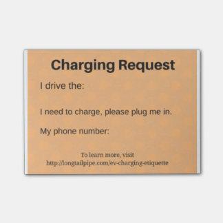 Demande de remplissage de voiture électrique post-it®