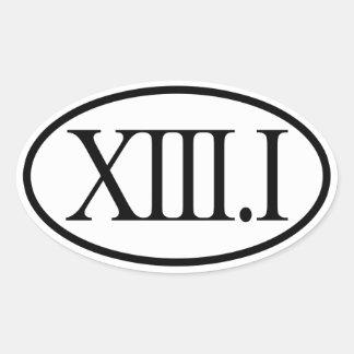 Demi de marathon 13,1 de chiffres romains sticker ovale