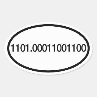 Demi de marathon 13,1 de nombres binaire sticker ovale
