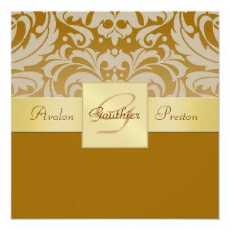 Demi d'invitation de ruban d'or de monogramme de carton d'invitation  13,33 cm