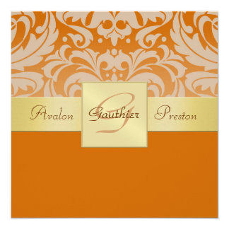 Demi d'invitation orange de ruban d'or de carton d'invitation  13,33 cm