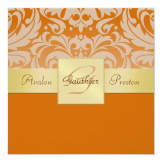 Demi d'invitation orange de ruban d'or de