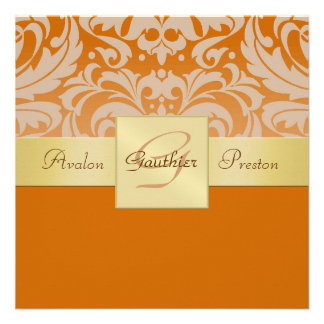 Demi d'invitation orange de ruban d'or de monogram