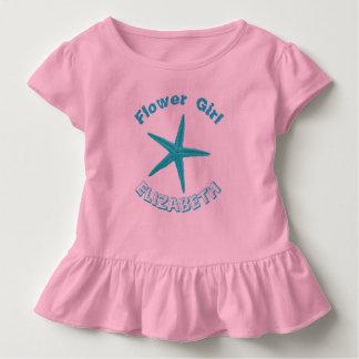 Demoiselle de honneur bleue de mariage de plage de t-shirt pour les tous petits