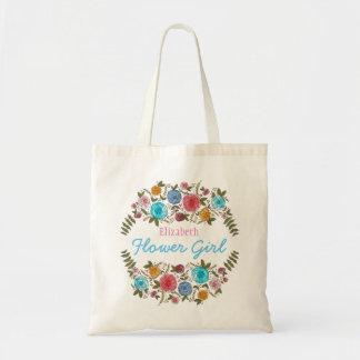 Demoiselle de honneur rose florale avec le nom tote bag