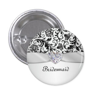 Demoiselle d'honneur florale noire de mariage badge rond 2,50 cm