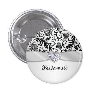 Demoiselle d'honneur florale noire de mariage badges