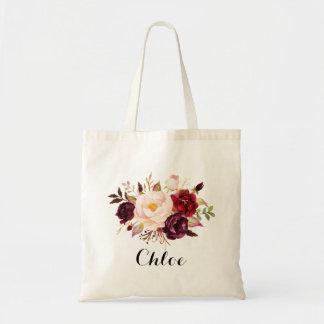Demoiselle d'honneur florale rustique, cadeau de sacs fourre-tout