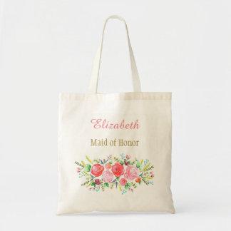 Demoiselle d'honneur nuptiale florale avec le nom tote bag