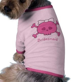 Demoiselle d'honneur rose mignonne de crâne de jeu t-shirts pour chien