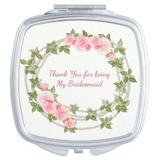 Demoiselle d'honneur, roses roses floraux, faite miroirs compacts