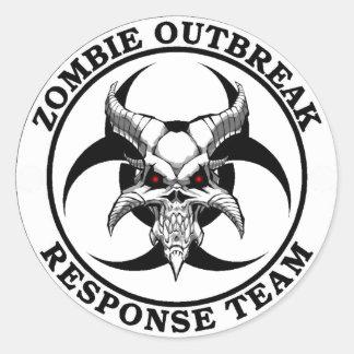 Démon de Biohazard de manifestation de zombi Sticker Rond
