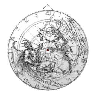 Démon de combat d'ange au-dessus de tatouage du jeu de fléchettes