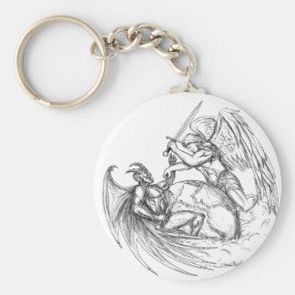 Démon de combat d'ange au-dessus de tatouage du porte-clés