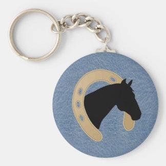 Denim et fer à cheval KEYCHAIN
