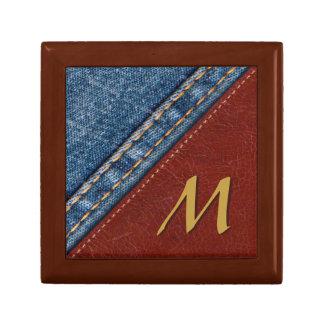 Denim vintage et cuir de monogramme petite boîte à bijoux carrée