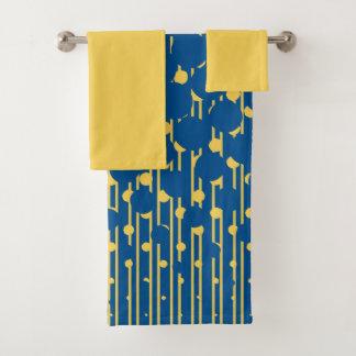 Densité dans bleu et jaune - ensemble de serviette