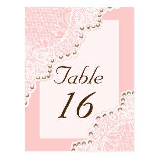 Dentelle blanche avec le nombre rose de table de carte postale