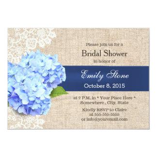 Dentelle bleue rustique d'hortensia et douche carton d'invitation  12,7 cm x 17,78 cm