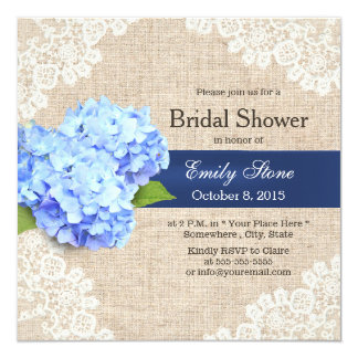 Dentelle bleue rustique d'hortensia et douche carton d'invitation  13,33 cm