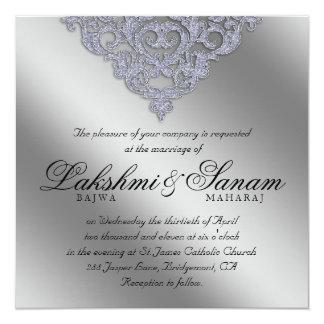 Dentelle d'argent d'étincelle d'invitation de carton d'invitation  13,33 cm