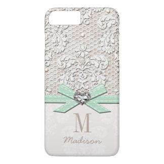 Dentelle de fausse pierre et coeur d'arc imprimés coque iPhone 7 plus