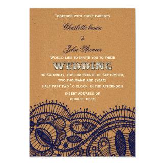 Dentelle de marine et mariage de papier carton d'invitation  12,7 cm x 17,78 cm