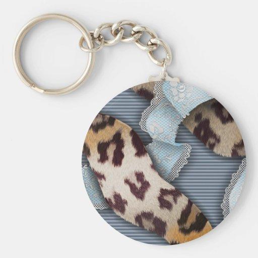 Dentelle de n de léopards '- bleu - porte-clés