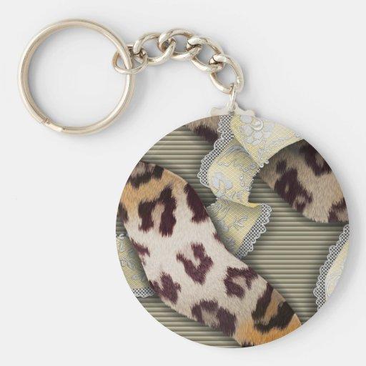 Dentelle de n de léopards '- ivoire porte-clé