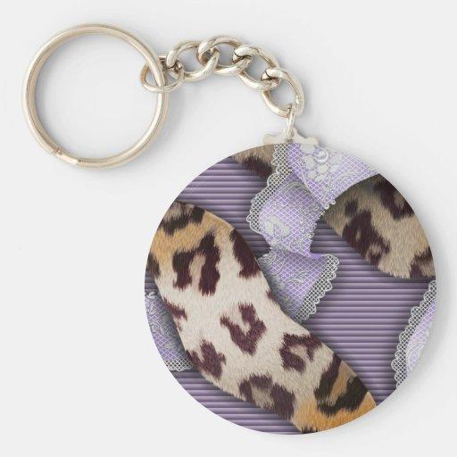Dentelle de n de léopards '- pourpre - porte-clés