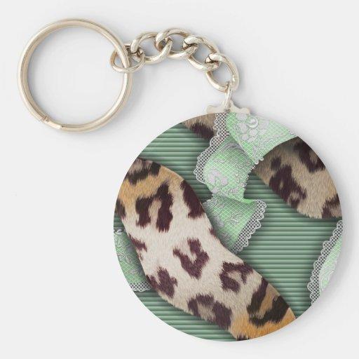 Dentelle de n de léopards '- vert - porte-clef