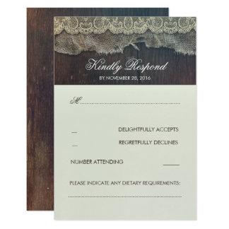 Dentelle de toile de jute et RSVP l'épousant Carton D'invitation 8,89 Cm X 12,70 Cm
