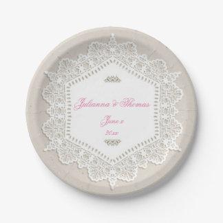 Dentelle élégante et blanche, mariage, coutume assiettes en papier