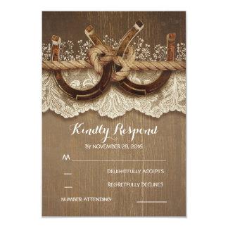 Dentelle en bois de fers à cheval rustiques de carton d'invitation 8,89 cm x 12,70 cm