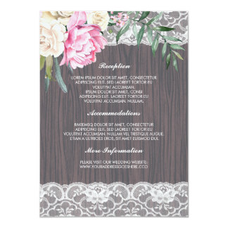 Dentelle et carte rose d'invité de l'information carton d'invitation  11,43 cm x 15,87 cm