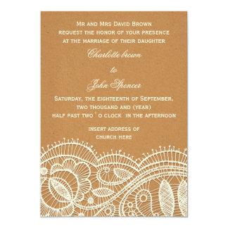 Dentelle et mariage de papier d'emballage carton d'invitation  12,7 cm x 17,78 cm