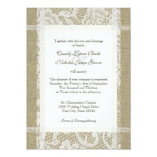 Dentelle et toile de jute rustiques de mariage carton d'invitation  13,97 cm x 19,05 cm