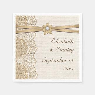Dentelle, fleur de ruban et mariage de toile de serviette jetable