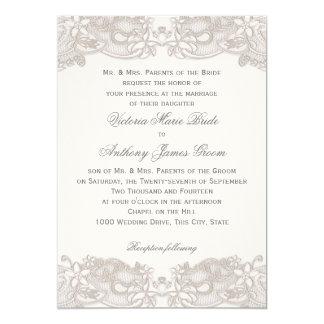 Dentelle florale victorienne sur le mariage blanc invitations personnalisées