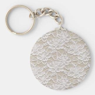 Dentelle florale vintage porte-clé rond