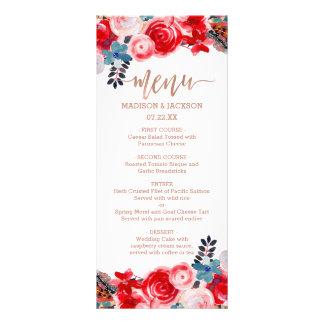 Dentelle rose d'or et menu élégant floral de carte double en  couleur
