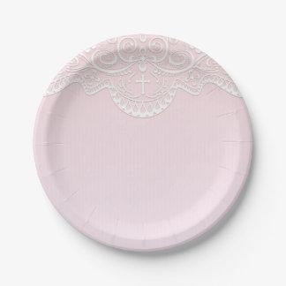 Dentelle rose et blanche, religieuse assiettes en papier