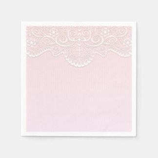 Dentelle rose et blanche, religieuse serviettes jetables