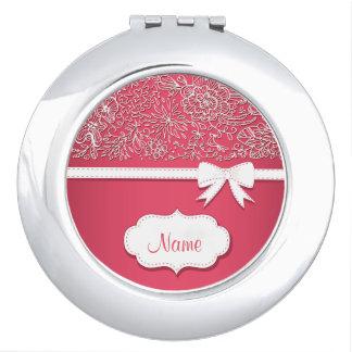 Dentelle rose et miroir compact personnalisé par