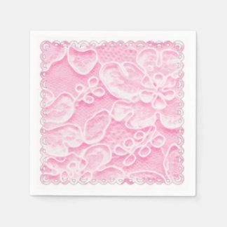 Dentelle rose serviette jetable