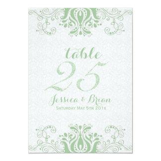 Dentelle vert clair et Tableau blanc numéro 2 de Carton D'invitation 12,7 Cm X 17,78 Cm