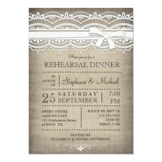 Dentelle vintage et dîner rustique de toile de carton d'invitation  12,7 cm x 17,78 cm