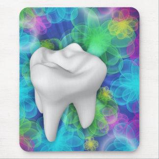 Dentiste blanc Mousepad de conception de fleur de Tapis De Souris